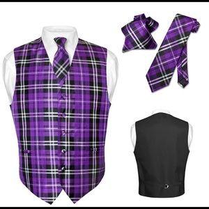 Men's Plaid Vest NeckTie for Suit Tux Purple